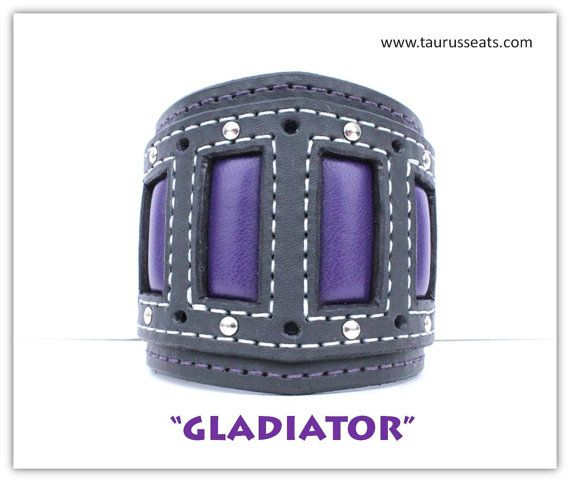 Leather Cuff Bracelet, Wristband with Chrome Rivets, Purple Leather, Grey and Purple Handstitching, Motorcycle Accessory, Bikers Bracelet