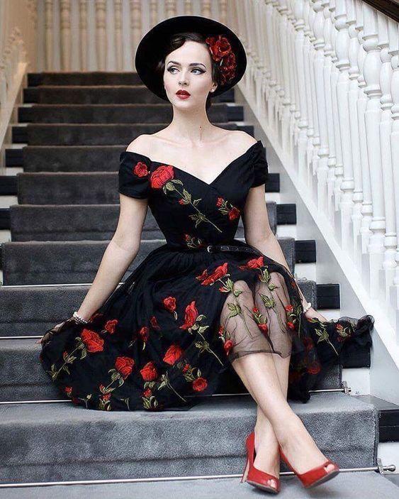 246f38f68d554 retro vintage 🌹 allure style mood mode robe noire fleurs roses rouge red  black dress rockabilly