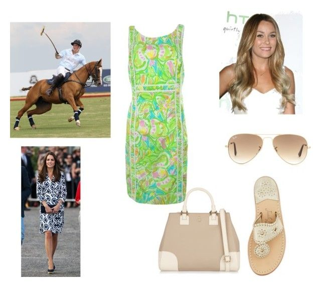 """""""Flashback: First Polo Match - Sitting with KAte"""" by royal-fashion ❤ liked on Polyvore featuring Lauren Ralph Lauren, Tory Burch, Lilly Pulitzer, Ray-Ban and Jack Rogers"""