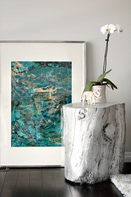 I really like the idea of stump end tables and I like silver leaf.  Here you see the two of them together!!