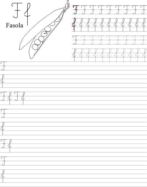 Szablon z nauką pisania litery F f