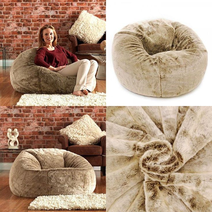 Panelled Faux Fur Bean Bag Chair  Extra Large Bean Bags - Large Designer Bean