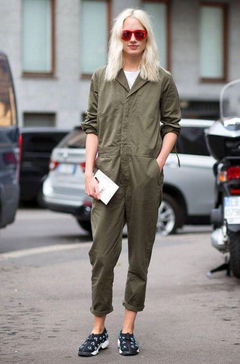 4f9b1256e40 Trending Fashion Style  Jumpsuit. Khaki green utility jumpsuit ...