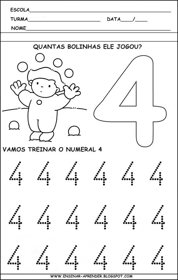 """ATIVIDADES PARA TREINO DA ESCRITA DOS NUMERAIS DE 1 A 5 ~ """" Cantinho ..."""