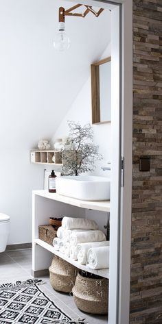 Badezimmer in schlichten Naturtönen von heimatbaum.com