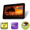 Tablette Tactile avec écran 9 capacitif - Processeur Cortex A8-1.2GHz - Mémoire 512Mo - Stockage 4Go - WiFi 802.11/b/g/n - Caméra avant 0.3Mpixels, arrière 0.3Mpixels - Port MicroSD - Android 4.0 Ice Cream Sandwich - Garantie 1 an