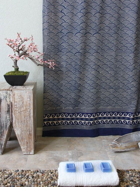 Rustic Navy Blue Shower Curtain, Asian Insipired Shower Curtain, Fabric Shower Curtain