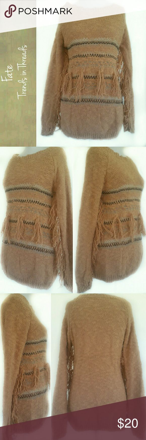 Fate Fringe Sweater, Medium Fate Fringed Sweater, Women's Size Medium M, pre-owned.  80 percent cotton 20 percent acrylic, hand wash or dry clean  Sepia beige in color with darker brown woven stripe accents, crew neck, long fringed sleeves with fringe accents on front of sweater, medium knit. fate Sweaters