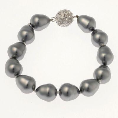 Pearl Bracelet with CZ Ball Clasp - SMALL PEARL (light grey)   www.glamadonnashop.com.au