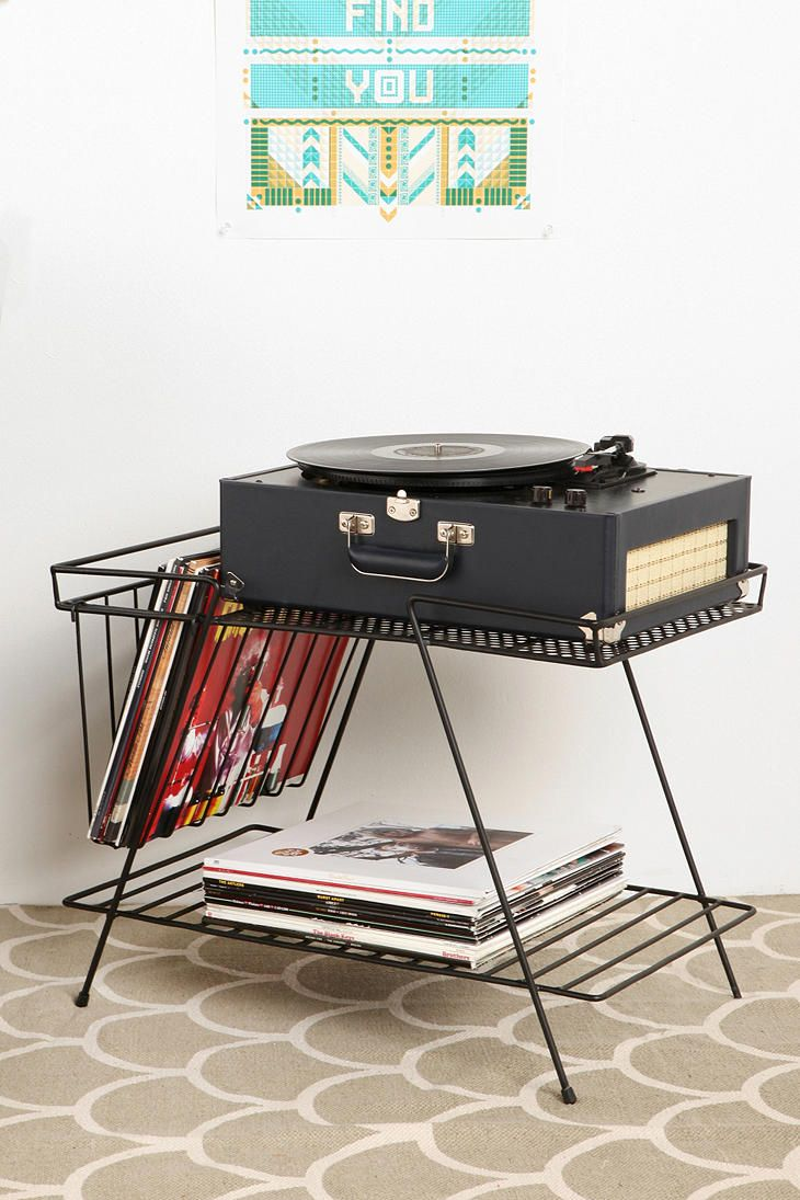 This could be good to hold our player and current favorite vinyl. Even though its from Urban Outfitters (but on sale) Wire Storage Table