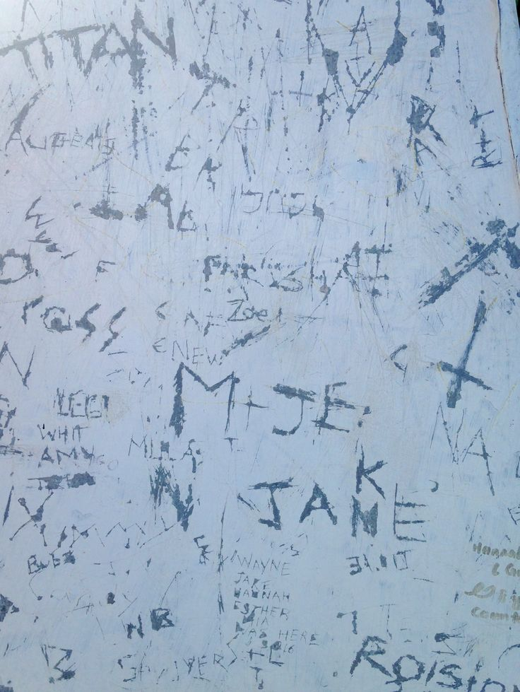 Antony Densham. Etched Graffiti, Paku Hill, Tairua, NZ