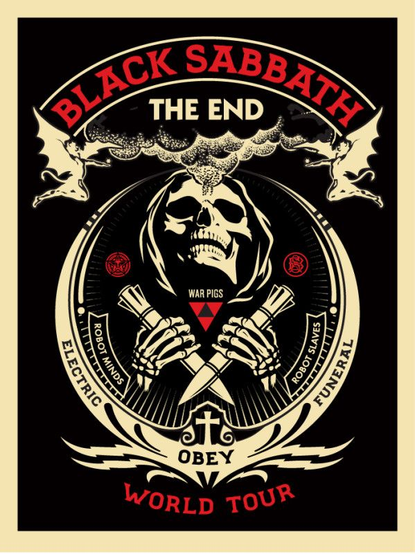 "BLACK SABBATH ""THE END"" / Shepard Fairey via obeygiant.com / Download 2016"