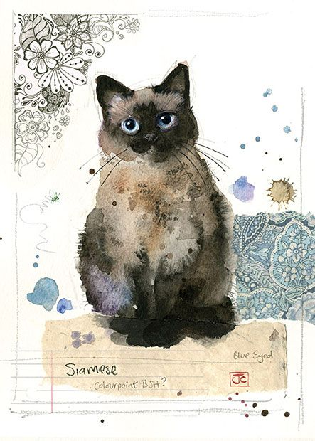 Siamese Cat by Jane Crowther for Bug Art greeting cards.