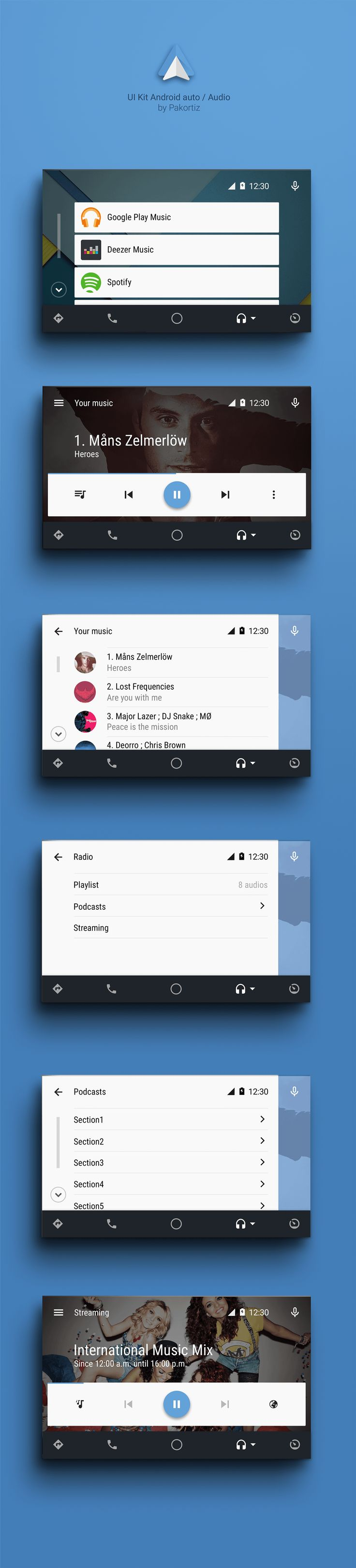 UI Kit Android auto / Audio on Behance