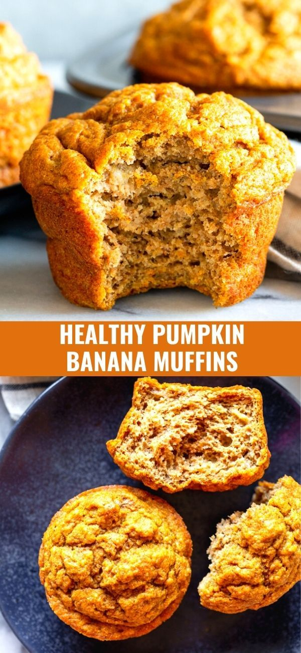 These Healthy Pumpkin Banana Muffins Are A Tasty Snack For Toddlers Kids And Adults Everyone Will Love The Warm Pumpkin Flavors