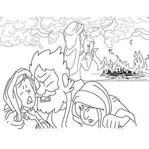 Destruction Of Sodom And Gomorrah Coloring Page
