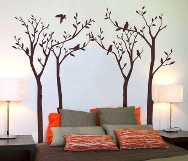 Decorazione Parete Con Pittura Alberi Autunnali Decorare Le Pareti Decorazioni Idee Muro Camera Da Letto