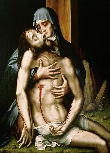 Marie, mère de Jésus. -Marie recueillant le corps de Jésus. Par Luis de Morales. XVIe siècle.