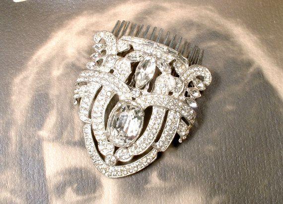 ANTIQUE années folles mariage peigne à cheveux, peigne mariée postiche Art Deco argent strass robe Clip Vintage casque 1920 Edwardian