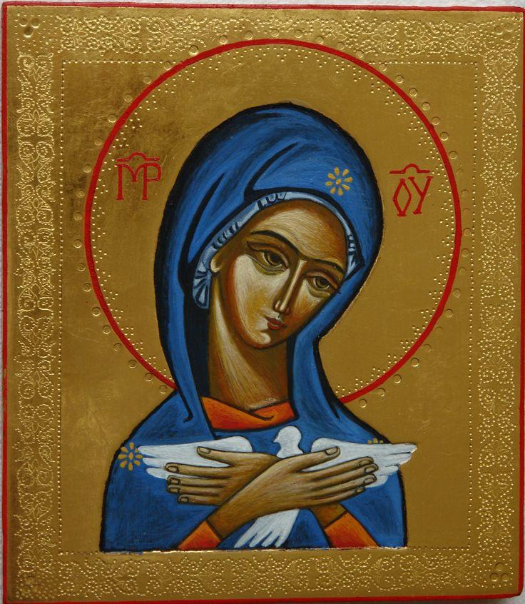 Pneumatofora, deska 14x16, złocenie na pulment, tempera; Pracownia Ikon Serca Jezusowego w Tarnowie Podgórnym