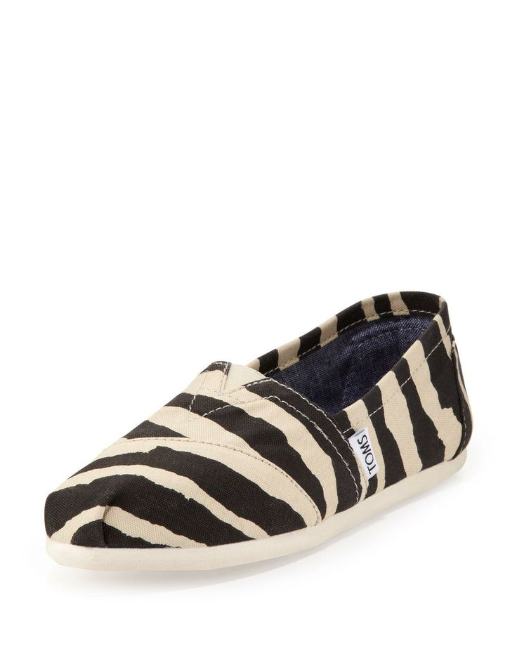 toms zebra print slip on on the cusp for the animal
