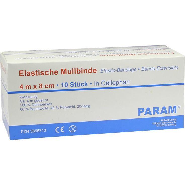 MULLBINDEN elastisch 8 cm m.Cellophan:   Packungsinhalt: 10 St Binden PZN: 03855713 Hersteller: Param GmbH Preis: 3,29 EUR inkl. 19 %…