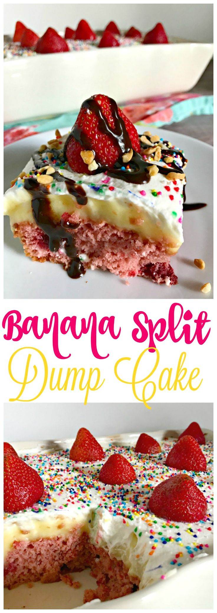 The PERFECT Summer Dessert! Banana Split Dump Cake from The Cards We Drew