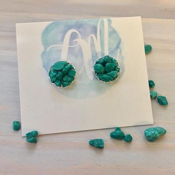 Turquoise Stone Earrings  Blue Stone Earrings  Turquoise
