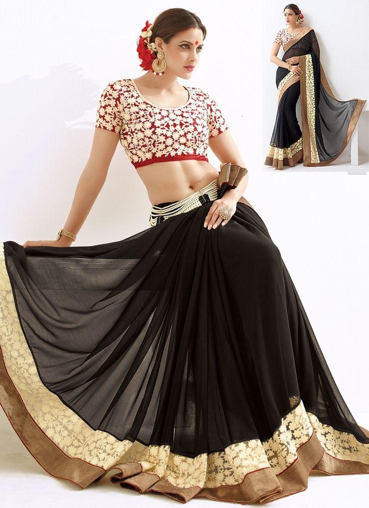 Sari Design Noir Sincère Noir pur en mousseline de soie doté d'une touche d'originalité exceptionnelle. Son design conçu avec beaucoup de goût lui confère un côté élégant et raffiné.