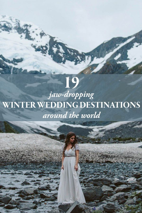 19 Jaw-Dropping Winter Wedding Destinations Around the World // Alaska wedding // photo by Jess Hunter