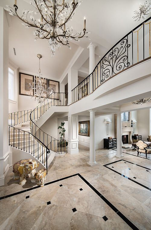 25 best grand entrance ideas on pinterest luxury homes for House plans with stairs in foyer