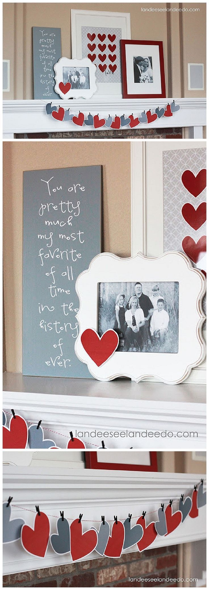 EASY Valentine's Day Mantel Decorations in Hearts, Red, White and Greys - DIY Paper Crafted Garland and FREE PRINTABLE
