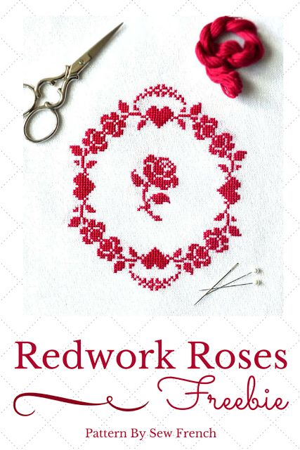 Pretty Red Roses Cross Stitch Freebie! Silk or DMC floss. romantic. vintage. redwork. embroidery. needlecraft. handmade. DIY. projects. patterns. craft. hand sewing. roses. hearts. French. decor. shabby chic. sweet. beautiful.