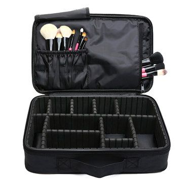 Detachable Black Makeup Bag Travel Toiletry Kit Portable Pouch Cosmetic Holder Storage Organizer