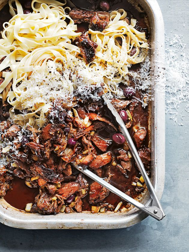 slow-cooked maple lamb pasta with fennel and olives