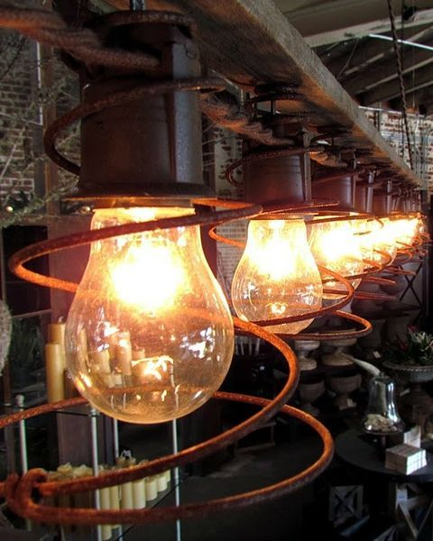 Rolling Greens Original Light Fixture Made From Antique Bed Springs
