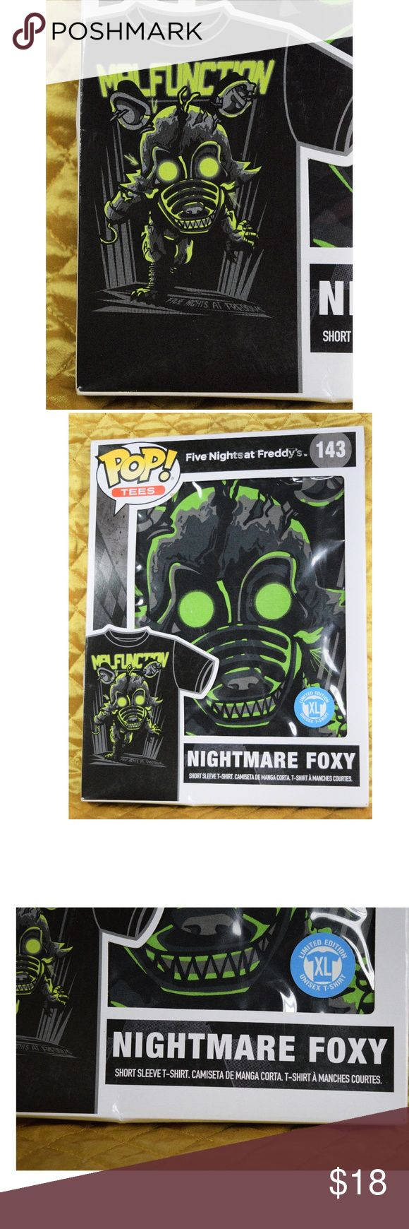 POP Tees Five Nights at Freddy's NIGHTMARE FOXY XL New POP! Five Nights at Freddy's NIGHTMARE FOXY T-Shirt! The tape has been pulled up once before, but it the box has never been fully opened. Unisex size XL. See photos for measurements!  **If you appreciate old school quality - you're in the right place. We don't just sell products, we put time & work into them. We ship FAST, usually within 1 business day! Thanks for Poshing in my Closet! 🙂😘 POP Shirts Tees - Short Sleeve