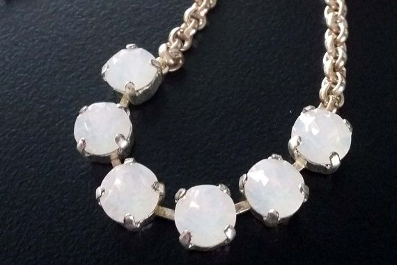 Bridal Swarovski Crystal stones Necklace with silver by BYTWINS, €58.00