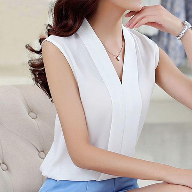 Blusas Femininas 2016 nova moda feminina colorido do decote em V Chiffon verão Blusas camisa bonito sem mangas camisas Casual Top