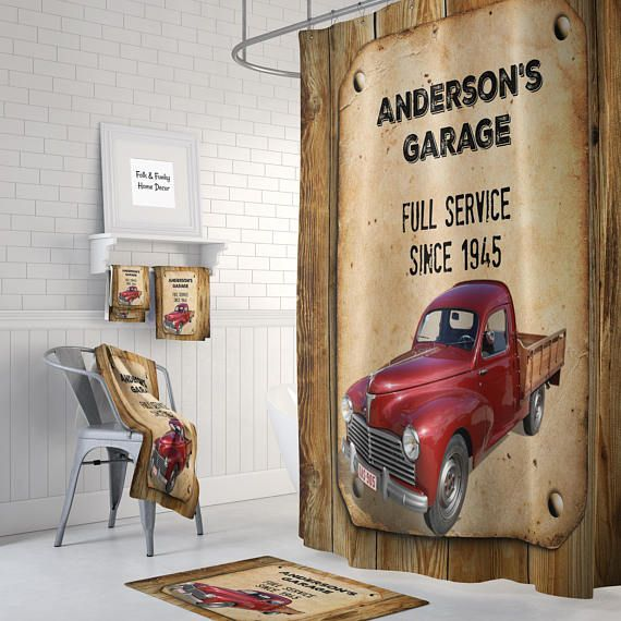 Personalized Vintage Red Truck Shower Curtain Custom Garage