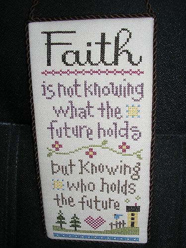 Faith and future cross stitch hanger