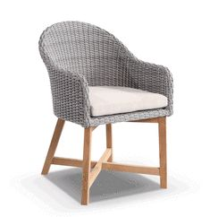 Coastal Wicker Dining Chair w/  Teak TImber Legs Brushed Grey