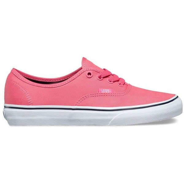 Vans Authentic ($50) ❤ liked on Polyvore featuring shoes, sneakers, pink, low top, vans footwear, pink sneakers, lace up sneakers and laced shoes