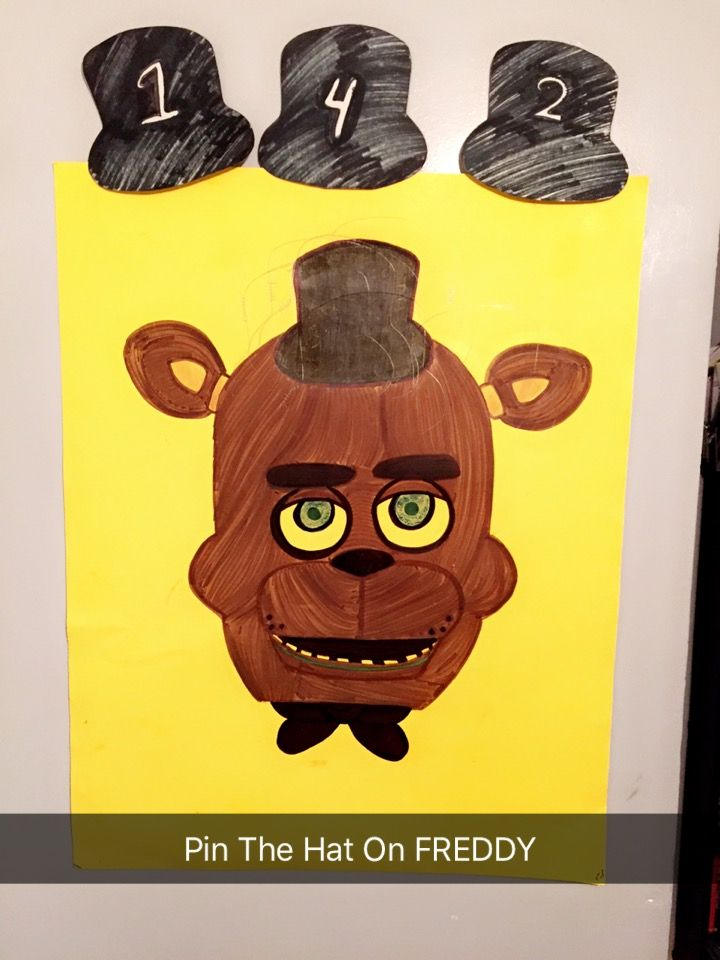 Five Nights at Freddy's birthday party games  PIN THE HAT ON FREDDY  FNAF Birthday party games   #FiveNightsAtFreddysBirthdaypartygames #FNAF