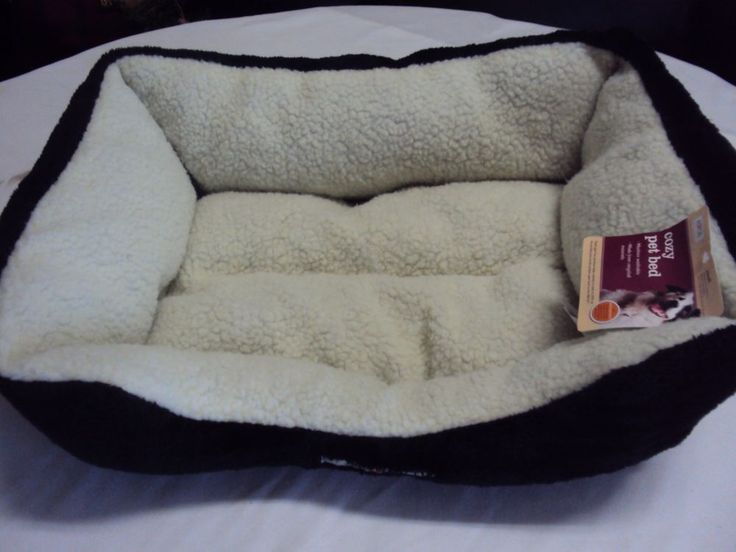 "ASPCA SMALL 20x16"" BLACK FAUX FUR PLUSH DOG PET BED WASHABLE RECYCLED MATERIALS  #ASPCA"