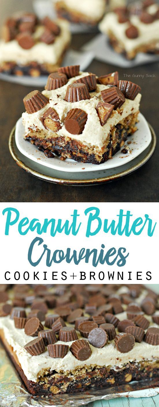 Peanut Butter Crownies (cookies + brownies) | Peanut Butter Cup Crownies or Brookies are brownies with peanut butter cookies, peanut butter frosting and peanut butter cups. A great bake sale idea!