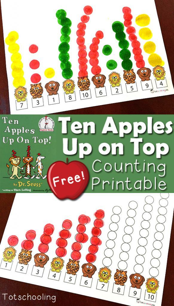 Here are FREE Ten Apples Up On Top Printables. This FREE printable Ten Apples Up On Top book activity comes in 3 versions:  -Numbers 1-10 in co