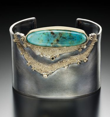 Jenny Reeves - Cuff bracelet in Argentium sterling silver and 18K gold, with chrysocolla, black, white, and chocolate diamonds. Fabricated, oxidized.