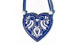 Kékfestő, madaras szív nyaklánc