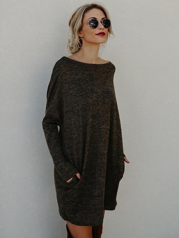65389b70b4 Round-neck Pockets Knitting Midi Dress – bonboho